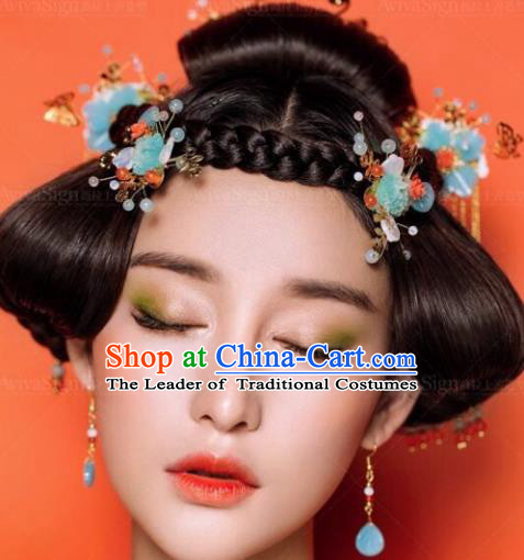 Traditional Handmade Chinese Ancient Classical Hair Accessories Barrettes Xiuhe Suit Blue Flowers Hair Comb Complete Set, Long Tassel Step Shake, Hanfu Hairpins Hair Fascinators for Women