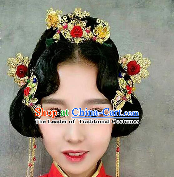 Traditional Handmade Chinese Ancient Classical Hair Accessories Barrettes Xiuhe Suit Long Tassel Step Shake Hair Comb Complete Set, Hanfu Hairpins Hair Fascinators for Women