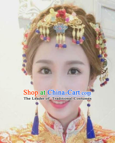 Traditional Handmade Chinese Ancient Classical Hair Accessories Barrettes Xiuhe Suit Long Tassel Cloisonne Step Shake Complete Set, Hanfu Hairpins Hair Fascinators for Women