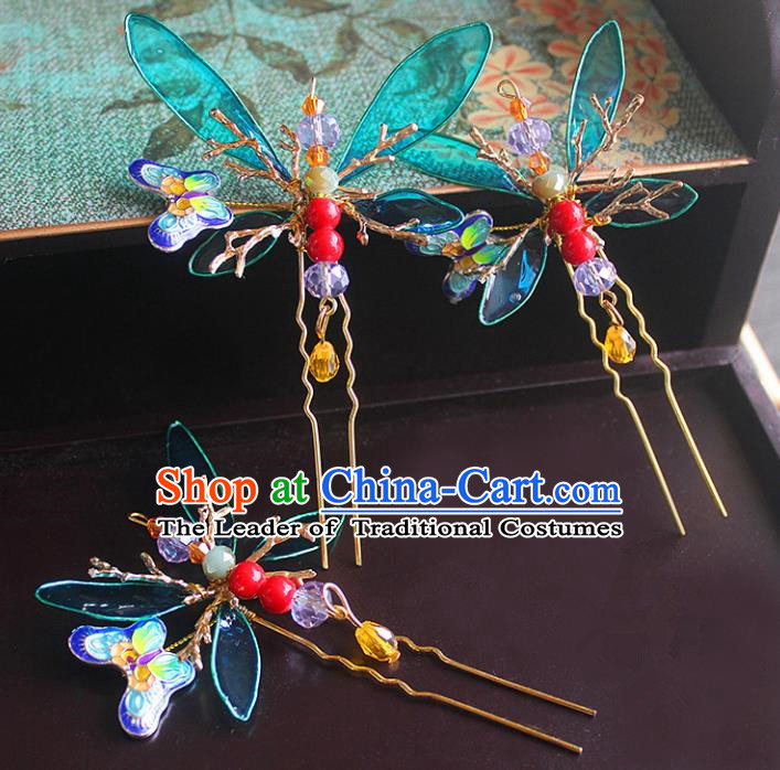 Traditional Handmade Chinese Ancient Classical Hair Accessories Barrettes Xiuhe Suit Blue Butterfly Hairpin, Hanfu Hair Fascinators for Women