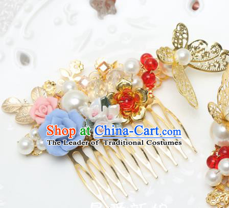 Traditional Handmade Chinese Ancient Classical Hair Accessories Barrettes Xiuhe Suit Hair Comb, Hanfu Hairpins Hair Fascinators for Women