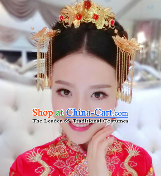 Traditional Handmade Chinese Ancient Classical Hair Accessories Barrettes Xiuhe Suit Hair Comb Complete Set, Hanfu Hairpins Hair Fascinators for Women