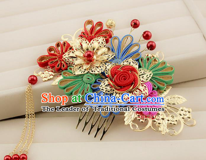 Traditional Handmade Chinese Ancient Classical Hair Accessories Barrettes Xiuhe Suit Cheongsam Hair Comb, Hanfu Hairpins Hair Fascinators for Women