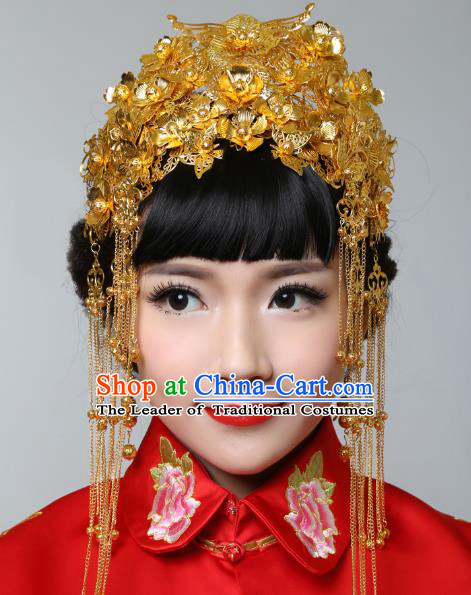 Traditional Handmade Chinese Ancient Classical Hair Accessories Barrettes Xiuhe Suit Cheongsam Tassel Golden Phoenix Coronet, Hanfu Hairpins Hair Fascinators for Women