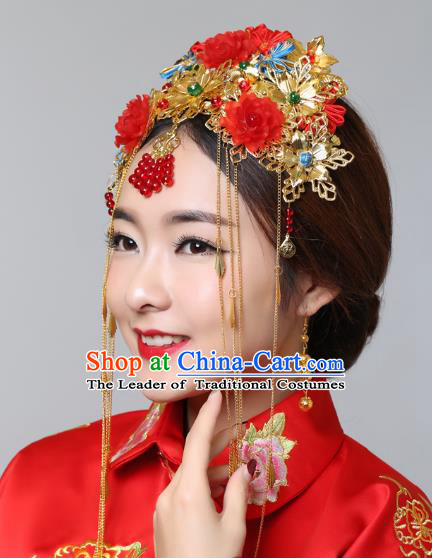 Traditional Handmade Chinese Ancient Classical Hair Accessories Barrettes Xiuhe Suit Cheongsam Red Flowers Golden Phoenix Coronet, Hanfu Hairpins Hair Fascinators for Women