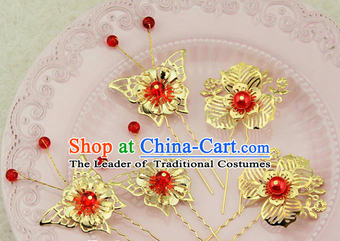 Traditional Handmade Chinese Ancient Classical Hair Accessories Barrettes Xiuhe Suit Cheongsam Golden Flowers Hair Stick, Hanfu Hairpins Hair Fascinators for Women