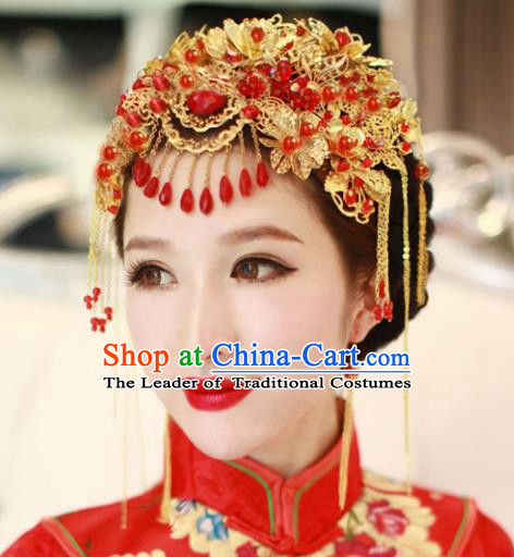 Traditional Handmade Chinese Ancient Classical Hair Accessories Barrettes Xiuhe Suit Cheongsam Red Flowers Tassel Phoenix Coronet, Hanfu Hairpins Hair Fascinators for Women