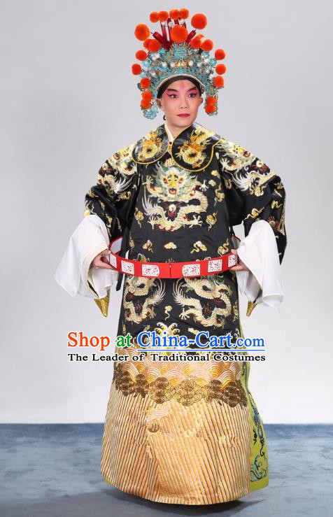 Top Grade Professional Beijing Opera Emperor Costume General Black Embroidered Robe and Belts, Traditional Ancient Chinese Peking Opera Royal Highness Embroidery Dragons Clothing
