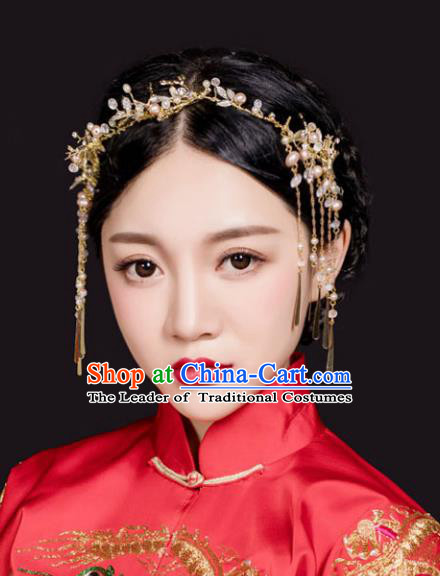 Traditional Handmade Chinese Ancient Classical Hair Accessories Barrettes Xiuhe Suit Golden Hair Clasp, Hanfu Hair Fascinators for Women