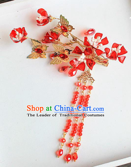 Traditional Handmade Chinese Ancient Classical Hair Accessories Xiuhe Suit Cheongsam Red Beads Tassel Hair Stick, Hanfu Hairpins Hair Fascinators for Women