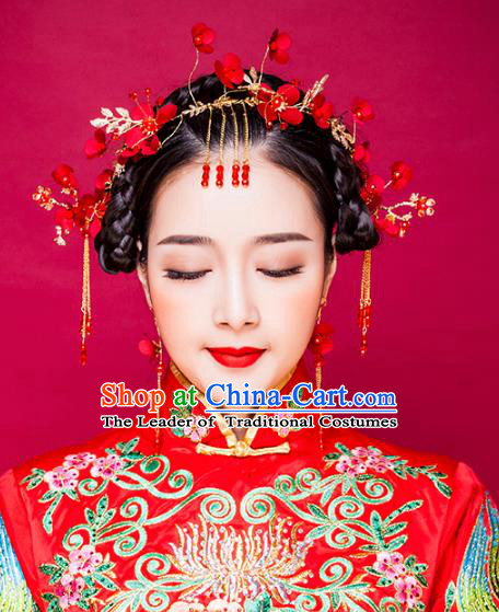 Traditional Handmade Chinese Ancient Classical Hair Accessories Xiuhe Suit Cheongsam Red Flowers Hair Clasp, Hanfu Hairpins Hair Fascinators for Women