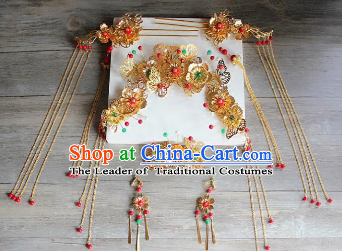 Traditional Handmade Chinese Ancient Classical Hair Accessories Xiuhe Suit Cheongsam Golden Butterfly Phoenix Coronet, Hanfu Hairpins Hair Fascinators for Women