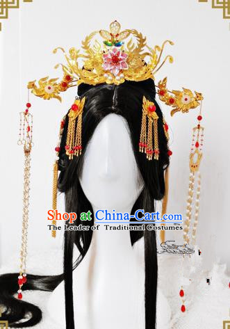 Traditional Handmade Chinese Ancient Classical Hair Accessories Complete Set Palace Lady Phoenix Coronet, Wedding Hairpins Hair Sticks Hair Jewellery Hair Fascinators for Women