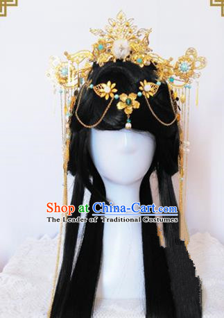 Traditional Handmade Chinese Ancient Classical Princess Hair Accessories Complete Set Tassel Phoenix Coronet, Wedding Hairpins Hair Jewellery Hair Fascinators for Women