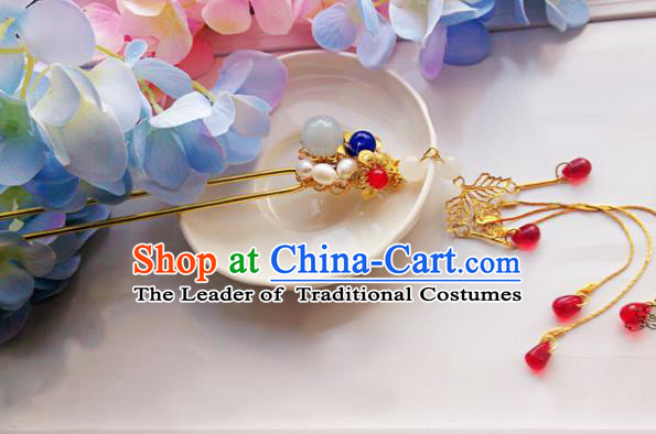 Traditional Handmade Chinese Ancient Classical Princess Hair Accessories Tassel Wedding Hairpins, Hair Jewellery Hair Fascinators for Women
