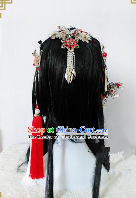 Traditional Handmade Chinese Ancient Classical Princess Hair Accessories Tassel Hanfu Hairpins Complete Set, Hair Jewellery Hair Fascinators for Women