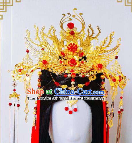 Traditional Handmade Chinese Ancient Classical Wedding Hair Accessories Bride Phoenix Coronet, Hair Jewellery Hair Fascinators for Women