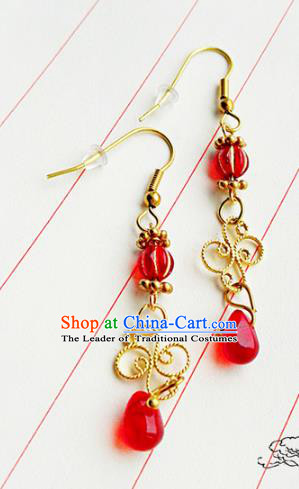 Traditional Handmade Chinese Ancient Classical Wedding Jewellery Accessories Bride Earrings Hanfu Red Tassel Eardrop for Women