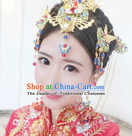 Traditional Handmade Chinese Ancient Classical Hair Accessories Xiuhe Suit Cheongsam Cloisonne Butterfly Phoenix Coronet, Hanfu Hairpins Hair Fascinators for Women