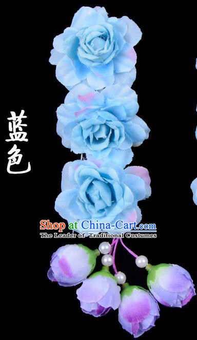 Traditional Beijing Opera Diva Red Hair Accessories Blue Flowers Temples Hairpin, Ancient Chinese Peking Opera Tassel Step Shake Hua Tan Hairpins Headwear