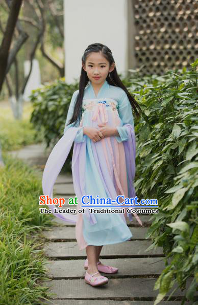 Traditional Ancient Chinese Children Costume, Elegant Hanfu Clothing Chinese Han Dynasty Princess Dress for Kids