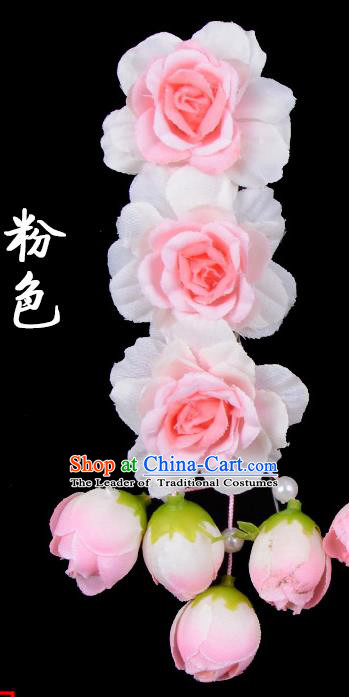 Traditional Beijing Opera Diva Red Hair Accessories Light Pink Flowers Temples Hairpin, Ancient Chinese Peking Opera Tassel Step Shake Hua Tan Hairpins Headwear
