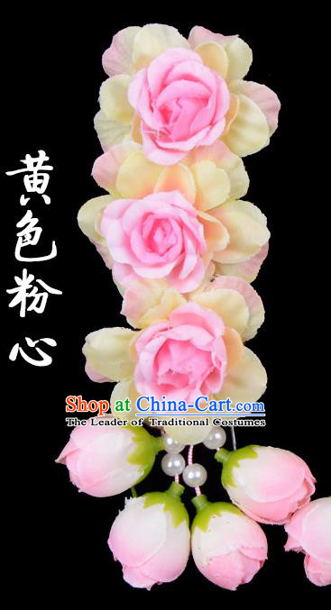 Traditional Beijing Opera Diva Red Hair Accessories Pink Flowers Temples Hairpin, Ancient Chinese Peking Opera Tassel Step Shake Hua Tan Hairpins Headwear