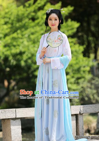 Traditional Chinese Hanfu Tang Dynasty Princess Costume, Elegant Hanfu Clothing Chinese Ancient Embroidery Dress for Women