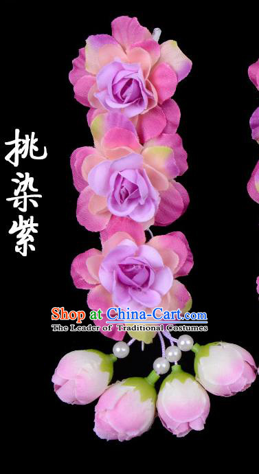 Traditional Beijing Opera Diva Red Hair Accessories Purple Flowers Temples Hairpin, Ancient Chinese Peking Opera Tassel Step Shake Hua Tan Hairpins Headwear