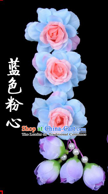 Traditional Beijing Opera Diva Red Hair Accessories Light Blue Flowers Temples Hairpin, Ancient Chinese Peking Opera Tassel Step Shake Hua Tan Hairpins Headwear