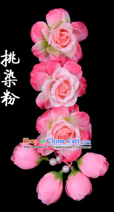 Traditional Beijing Opera Diva Red Hair Accessories Peach Pink Flowers Temples Hairpin, Ancient Chinese Peking Opera Tassel Step Shake Hua Tan Hairpins Headwear