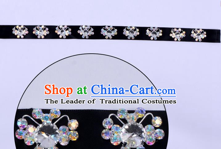 Traditional Beijing Opera Diva Hair Accessories Black Crystal Headband, Ancient Chinese Peking Opera Hua Tan Hair Clasp Headwear