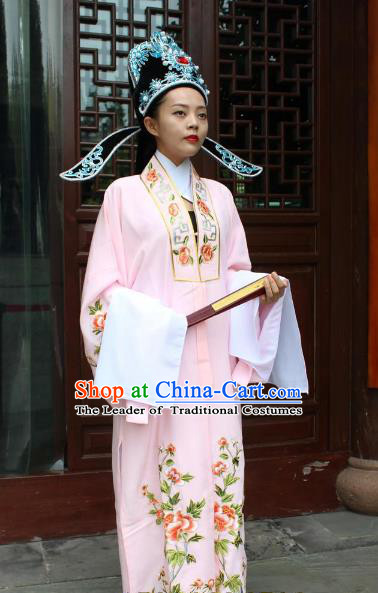 Top Grade Professional Beijing Opera Niche Costume Scholar Pink Embroidered Robe, Traditional Ancient Chinese Peking Opera Embroidery Gwanbok Clothing