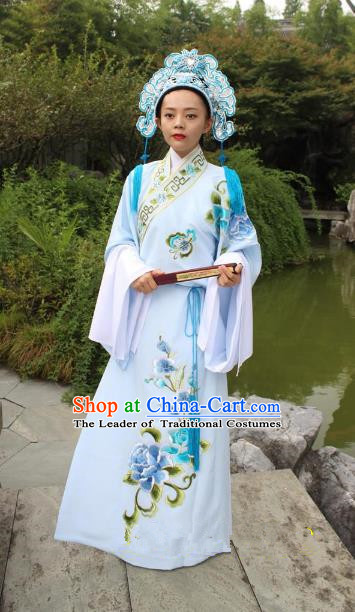 Top Grade Professional Beijing Opera Niche Costume Scholar White Embroidered Robe and Hat, Traditional Ancient Chinese Peking Opera Embroidery Gwanbok Clothing
