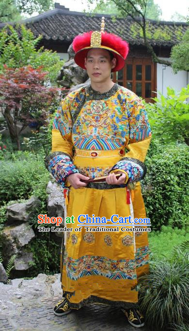 Traditional China Beijing Opera Qing Dynasty Emperor Costume Yellow Embroidered Robe, Ancient Chinese Peking Opera Manchu Embroidery Dragon Clothing