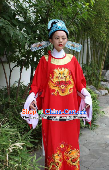 Top Grade Professional Beijing Opera Niche Costume Lang Scholar Red Embroidered Robe and Hat, Traditional Ancient Chinese Peking Opera Embroidery Clothing