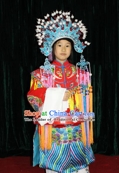 Top Grade Professional Beijing Opera Bride Embroidered Dress, Traditional Ancient Chinese Peking Opera Imperial Concubine Embroidery Clothing for Kids