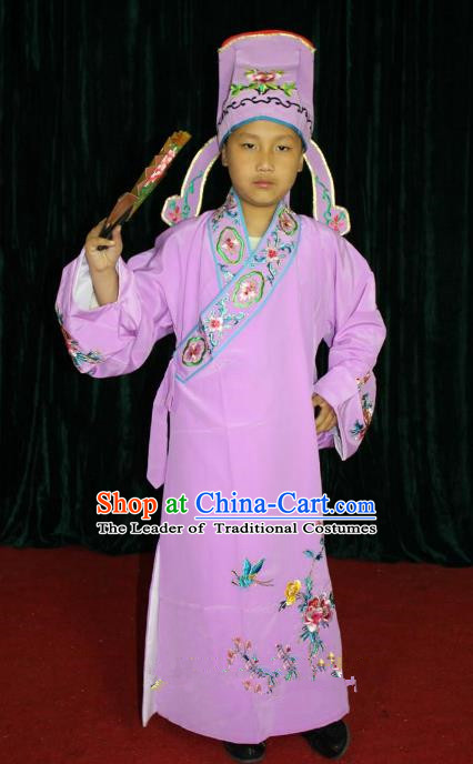 Top Grade Professional Beijing Opera Niche Costume Pink Embroidered Robe, Traditional Ancient Chinese Peking Opera Lang Scholar Embroidery Clothing for Kids