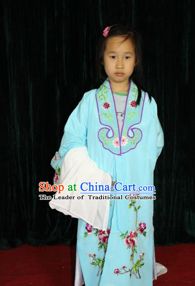Top Grade Professional Beijing Opera Princess Costume Hua Tan Blue Embroidered Cape, Traditional Ancient Chinese Peking Opera Diva Embroidery Clothing for Kids
