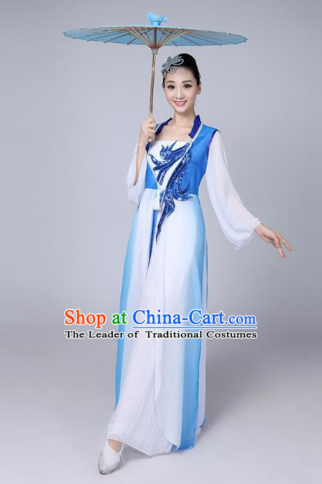 Traditional Chinese Classical Dance Yangge Fan Dancing Costume, Chinese Classical Dance Folk Dance Uniform Yangko Clothing for Women