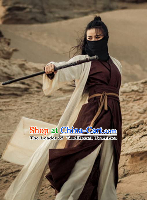 Traditional Chinese Ancient Female Swordswoman Costume, Chinese Ming Dynasty Kawaler Hanfu Chivalrous Women Clothing
