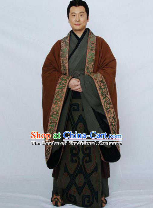 Traditional Chinese Ancient Minister Costume, Elegant Hanfu Clothing Chinese Ancient Qin Dynasty Landlord Embroidery Robe Clothing