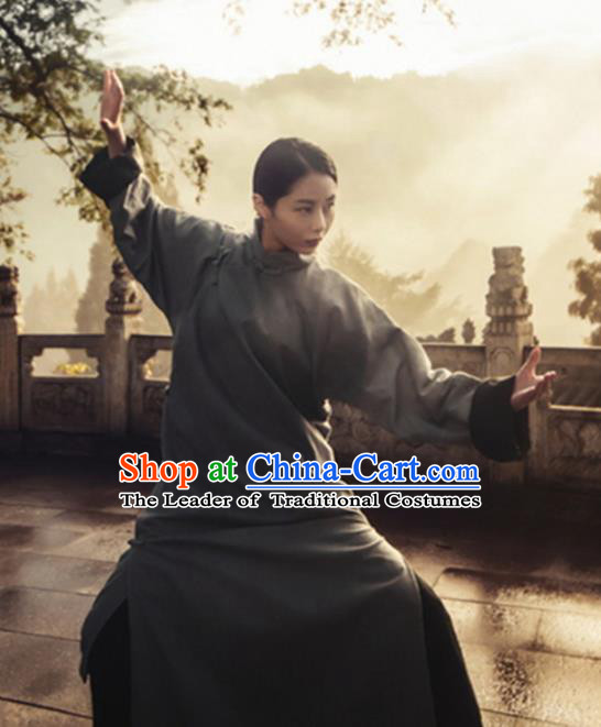 Traditional Chinese Ancient Kong Fu Costume, Elegant Hanfu Clothing Chinese Republic of China Martial Arts Long Gown