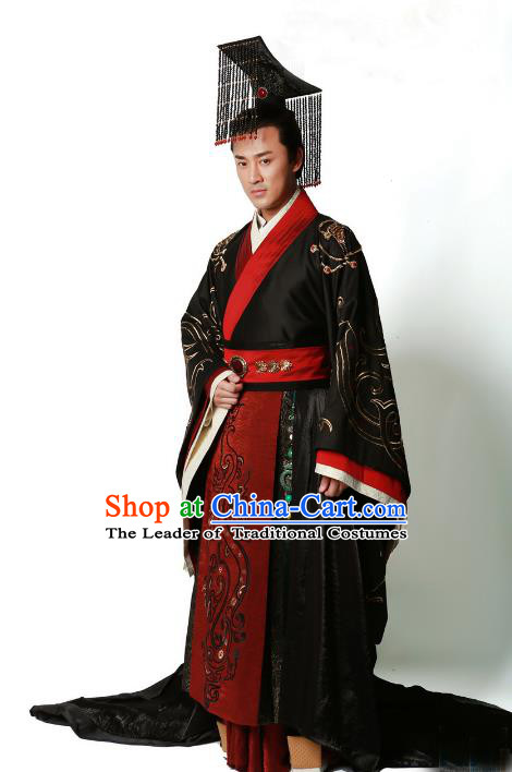 Traditional Chinese Ancient Qin Dynasty Emperor Embroidered Wedding Costume, China Han Dynasty Majesty Embroidery Hanfu Black Robe Clothing