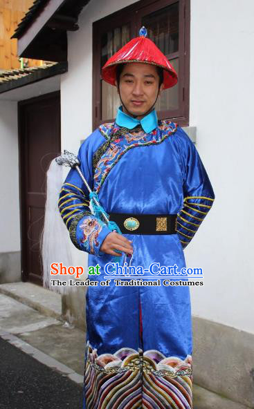 Top Grade Professional Beijing Opera Costume Qing Dynasty County Magistrate Blue Embroidered Robe, Traditional Ancient Chinese Peking Opera Manchu Minister Embroidery Gwanbok Clothing