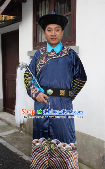 Top Grade Professional Beijing Opera Costume Qing Dynasty County Magistrate Navy Embroidered Robe, Traditional Ancient Chinese Peking Opera Manchu Minister Embroidery Gwanbok Clothing