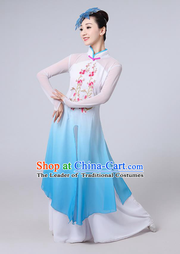 Traditional Chinese Classical Dance Yangge Fan Dance Costume, Chinese Classical Dance Folk Dance Blue Uniform Yangko Clothing for Women