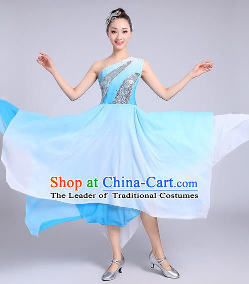 Traditional Chinese Modern Dance Yangge Fan Dance Costume, Chinese Classical Umbrella Dance Blue Dress Yangko Embroidery Clothing for Women
