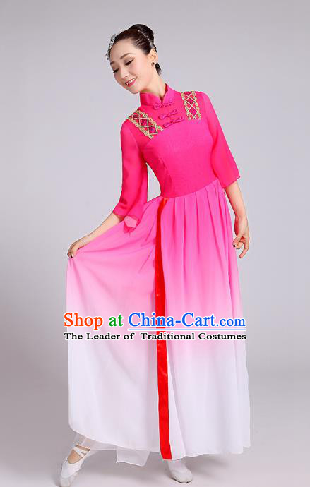 Traditional Chinese Yangge Fan Dance Costume, Chinese Classical Umbrella Dance Pink Chiffon Dress Yangko Embroidery Clothing for Women