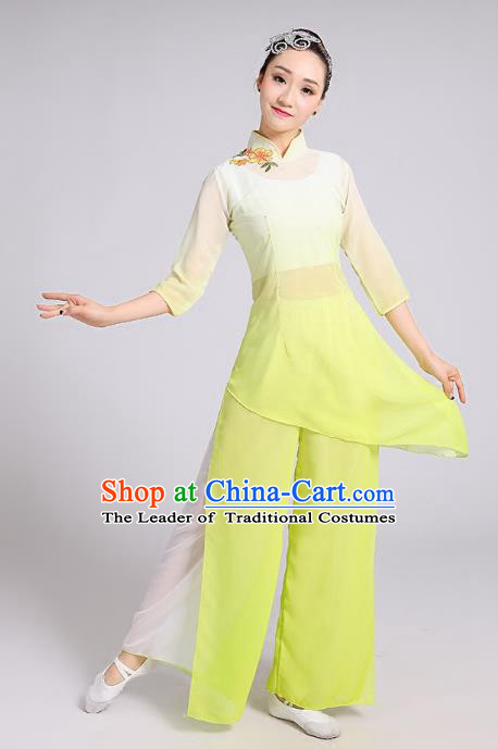 Traditional Chinese Folk Dance Costume  Yangge Dance Yellow Uniform, Chinese Classical Umbrella Dance Yangko Embroidery Clothing for Women